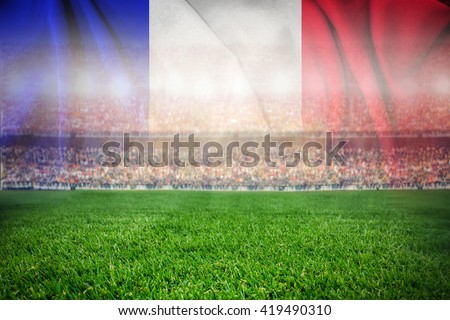 soccer football stadium merge with french flag  #419490310