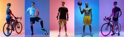 Soccer football, tennis, basketball and cycling. Collage of different professional sportsmen standing and posing at studio on multicolored background in neon. flyer for advertising.
