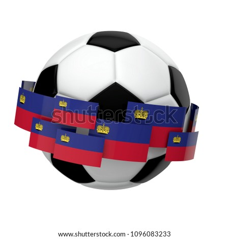 Soccer football with Liechtenstein flag against a plain white background. 3D Rendering