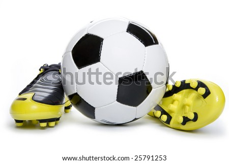 Soccer footwear and ball