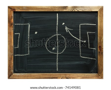Soccer formation tactics on a blackboard. isolated on white