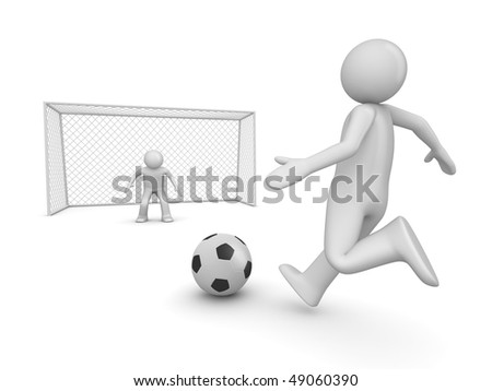 Soccer forward in penalty area (3d isolated on white background sports characters series)