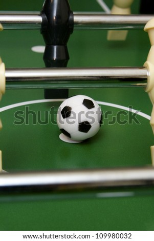 Soccer game and foosball pieces on the game table
