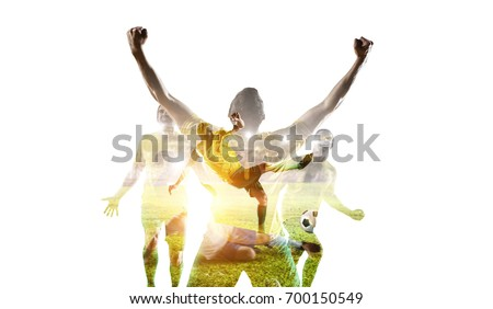 Soccer game background. Mixed media #700150549