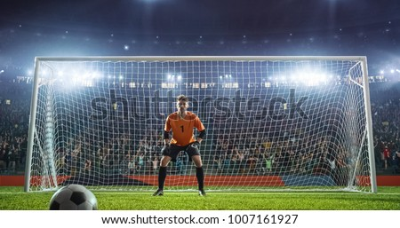 Soccer game moment  on professional stadium