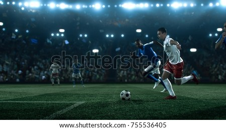 Soccer game moment on the soccer stadium. Soccer players wear unbranded sports clothes. Stadium and crowd made in 3D.