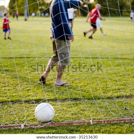 Soccer game with family on summers day