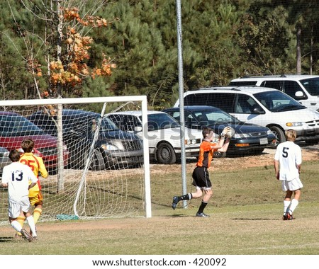 Soccer Goal Keeper makes the save