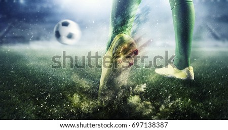 Shutterstock Soccer goal moment. Mixed media . Mixed media