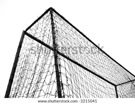 Soccer Goal -- monochrome sports theme image against a white background