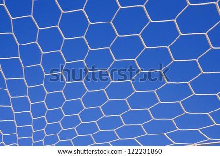 Soccer goal net in soccer stadium.