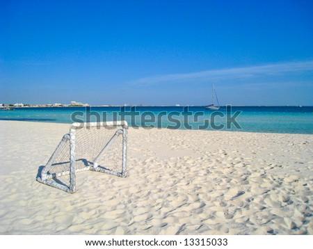 Soccer Goal on Caribbean Beach
