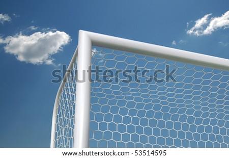Soccer goal on the sky background, top corner