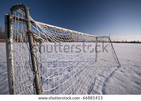 Soccer goal with icy net