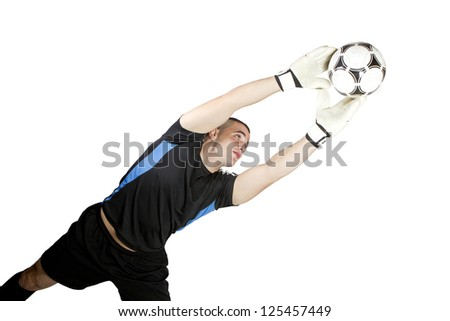soccer goalkeeper ball in his hands