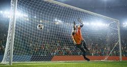 Soccer goalkeeper fails to catch a ball
