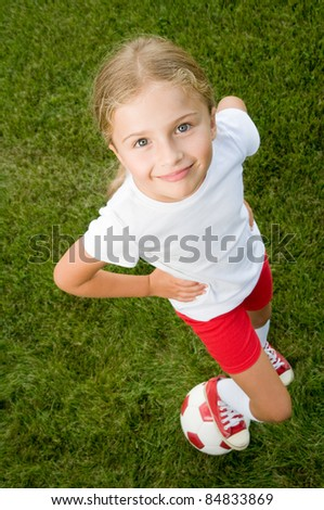 Soccer - Little soccer player portrait - stock photo
