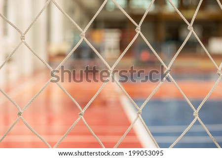 soccer net with out focus  indoor stadium background