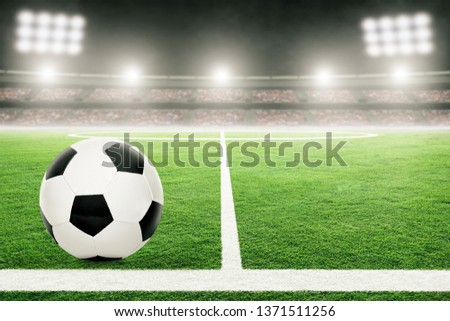 Soccer on football stadium field with blurred crowd background and copy space. #1371511256