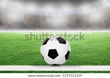 Soccer on football stadium field with blurred crowd background and copy space. #1371511259