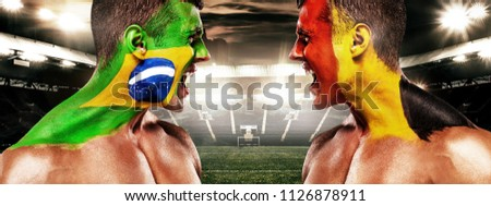 a1273b870 Soccer or football fan with bodyart on face on stadium - flags of Brazil vs  Belgium