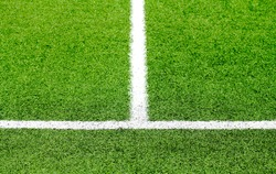 soccer or football stripes on beautiful green grass