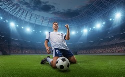Soccer player celebrates a victory on the professional stadium . Stadium and crowd are made in 3D.