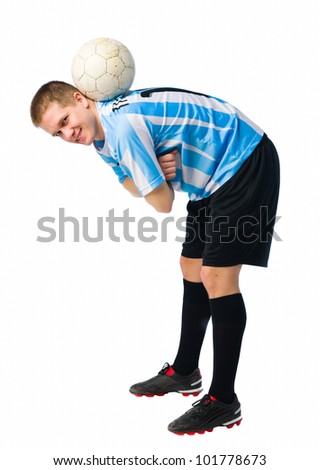 Soccer player control a ball, white  background.