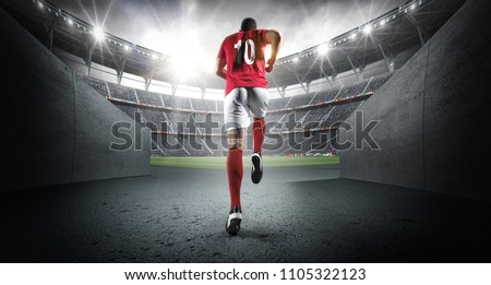 soccer player entering the 3d...