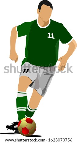 Soccer player. Football player. Colored illustration