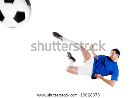Soccer player in action. Full isolated studio picture