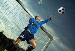 Soccer player in goal