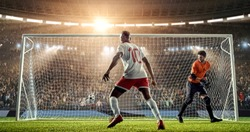 Soccer player is celebrating scored goal, running happily on a professional soccer stadium. Stadium and crowd are made in 3D.
