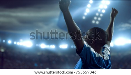 Soccer player is celebrating victory on the soccer stadium. He wear unbranded sports clothes. Stadium and crowd made in 3D.