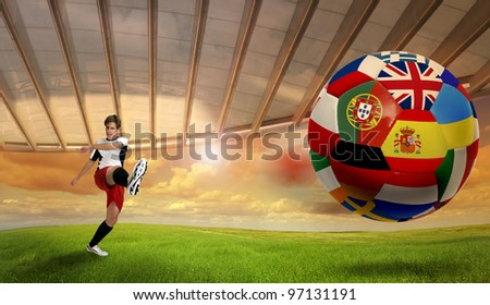 Soccer player kicking a ball with Euro cup nations flags