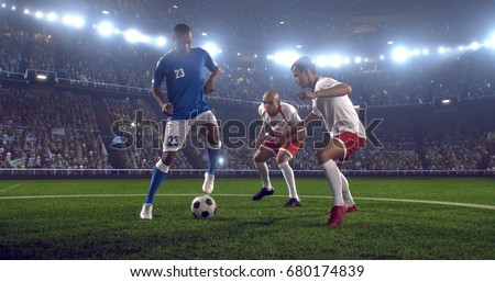 Soccer player makes a dramatic play during game on professional outdoor soccer stadium. All players are wearing unbranded soccer uniform. Stadium and crowd are made in 3D.
