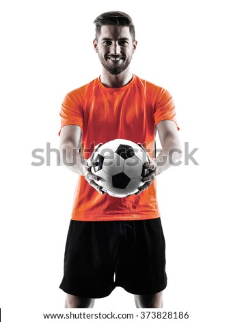 Soccer player Man Isolated silhouette - Shutterstock ID 373828186
