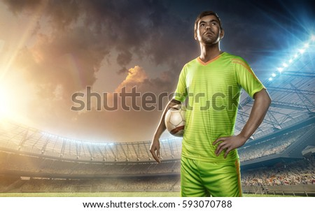 Soccer player on a soccer field