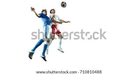 Soccer player on a white background. Isolated soccer player in un-brand clothes.