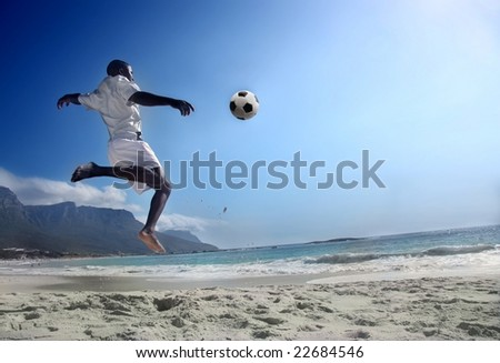 soccer player on the beach of cape town