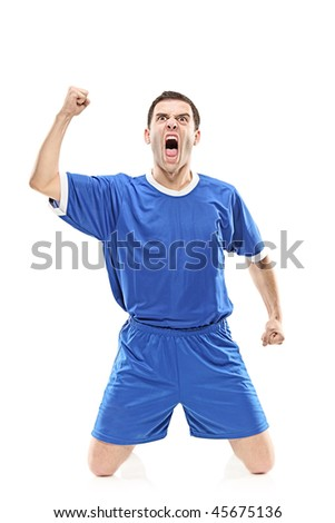 Soccer player screaming isolated against white background