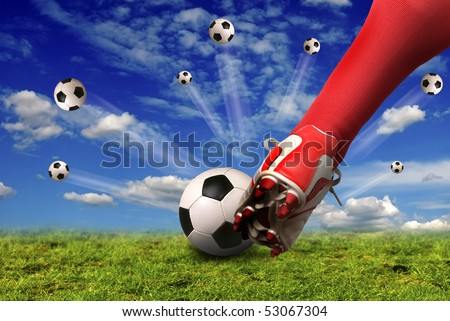 soccer player shooting balls in the sky