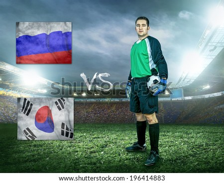 Soccer player stay at field. Game between two national teams.