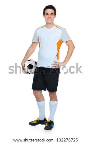 soccer player with a ball isolated on white background