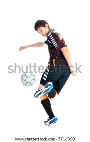 soccer player with ball isolated on white background