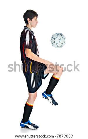 soccer player with ball solated on white background