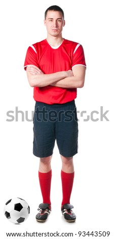 soccer player with folded hand, isolated on white