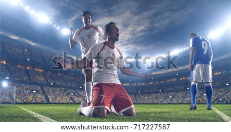 Soccer players celebrate a victory during a soccer game on a professional outdoor soccer stadium. They wear unbranded soccer uniform. Stadium and crowd are made in 3D. #717227587