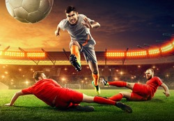 Soccer players fighting for a ball. Tough competition.  Slide tackle. Soccer stadium (3D render)