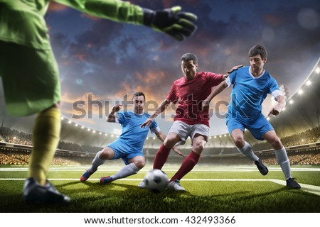 Soccer players in action on sunset stadium background panorama #432493366
